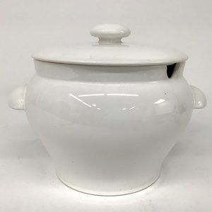 WHITE ceramic SOUP TUREEN w/ handles Portugal